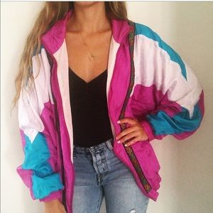 Vintage Purple Blue Colorblock Windbreaker Jacket